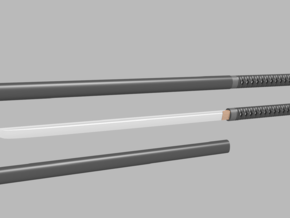 Katana - 1:6 scale - Straight Blade - No Tsuba in Smooth Fine Detail Plastic
