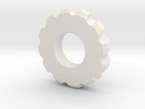 Gear Spinner in White Natural Versatile Plastic