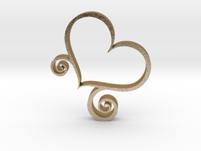Stand Up Heart Decoration in Polished Gold Steel