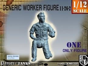 1-12 Generic Worker Figure 11-26-2 in White Natural Versatile Plastic