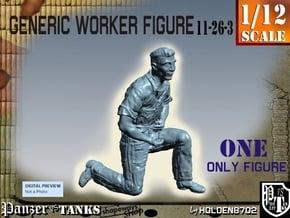 1-12 Generic Worker Figure 11-26-3 in White Natural Versatile Plastic
