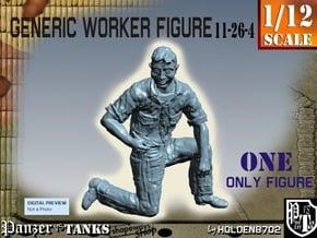 1-12 Generic Worker Figure 11-26-4 in White Natural Versatile Plastic