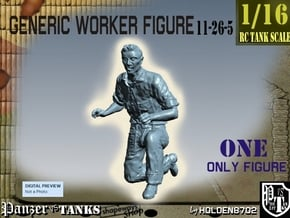 1-16 Generic Worker Figure 11-26-5 in White Natural Versatile Plastic