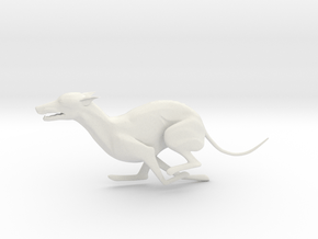 Whippet Running Statue in White Natural Versatile Plastic