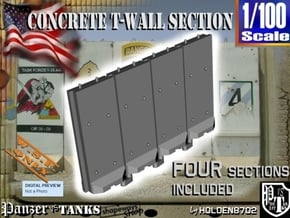 1-100 Concrete T-Wall Section Set in White Natural Versatile Plastic