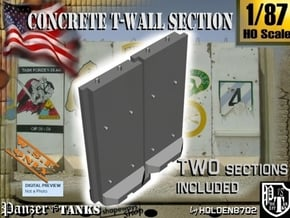 1-87 Concrete T-Wall Section Set in White Natural Versatile Plastic