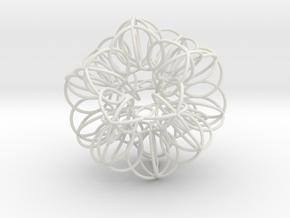 Annular Fractal Sphere in White Natural Versatile Plastic: Extra Small