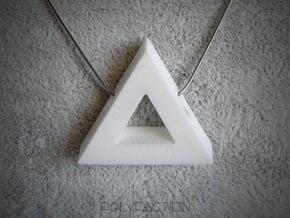 40 Degree ::: Triangle Pendant ::: v.01 in White Processed Versatile Plastic