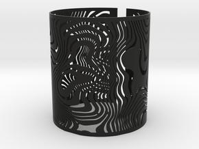 Wide Wavy Openwork Bracelet in Black Natural Versatile Plastic