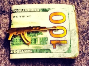 AK-47 MONEY/TIE CLIP in Polished Gold Steel