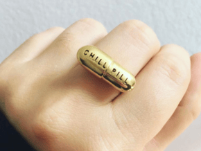CHILL PILL RING in Polished Brass: 5 / 49