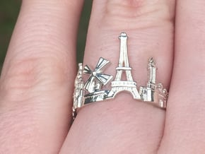 Paris Skyline - Cityscape Ring in Polished Silver: 9 / 59
