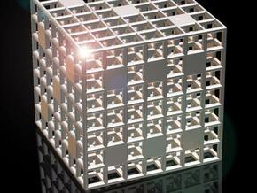 Steel Grid Die (2.5 cm) in Polished Silver