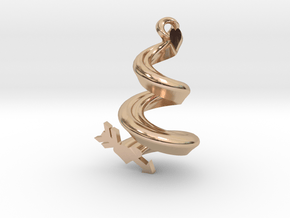 Spiral Heart Pendant in 14k Rose Gold Plated Brass