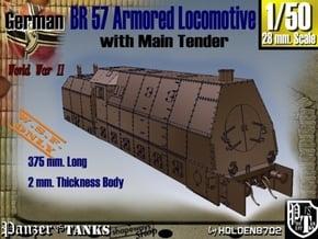 1-50 BR 57 Armored Locomotive For BP-42 in White Natural Versatile Plastic