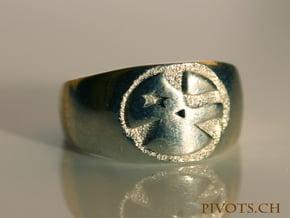 YFU Simple Logo Ring in Polished Silver