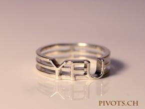 YFU Triple Wire Ring in Fine Detail Polished Silver