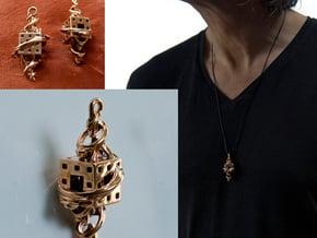 Fractal Talisman - El corazón del matemático in Polished Bronze