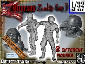 1-32 Military Zombie Set 7 in Smooth Fine Detail Plastic