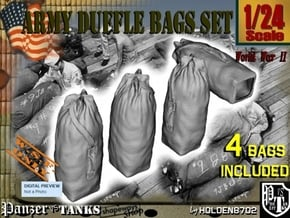 1-24 Army Duffle Bags Set1 in White Natural Versatile Plastic
