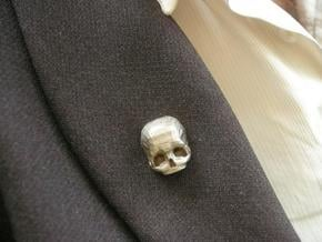 3D Printed Skull Brooch in Polished Bronzed Silver Steel