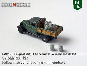 Peugeot 201 T Camionnette avec bidons (N 1:160) in Smooth Fine Detail Plastic