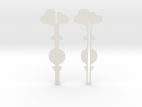 Cake Topper - Clouds & Balloon #3 in White Natural Versatile Plastic