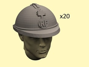 28mm WW1 French Helmets in Smoothest Fine Detail Plastic