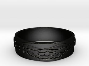 Skull Ring Size 11.5 in Matte Black Steel
