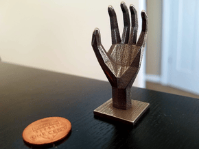 Polyhedral Hand in Polished Bronzed Silver Steel