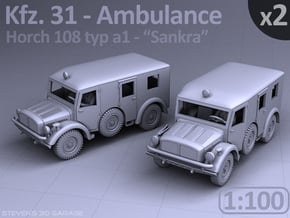 Ambulance Kfz 31 Horch - (2 pack) - (1:100) in Smooth Fine Detail Plastic