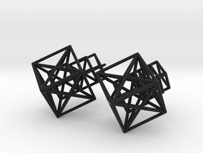 Entangled Hypercube Dangle Earring in Black Natural Versatile Plastic: Large