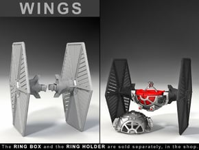 """WINGS - To the """"Star Fighter Ring Box"""" in Black Natural Versatile Plastic"""