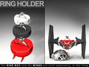 """RING HOLDER - To the """"Star Fighter Ring Box"""" in Red Processed Versatile Plastic"""