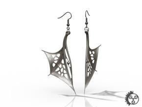 Wing Earrings - Fishhooks in Polished Bronzed Silver Steel