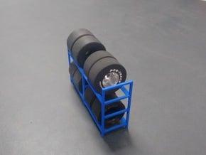 Tire Storage Rack V3 1/24 - 1/25 in Blue Processed Versatile Plastic