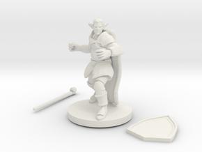 Male Elf Druid Club And Shield in White Natural Versatile Plastic