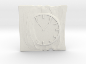 Clamp for business card with clock and cloth. in White Natural Versatile Plastic
