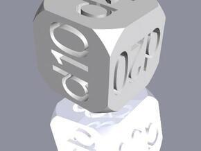 ''Diecider'' Die (D6) in White Natural Versatile Plastic
