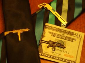 SUPER SHORTY 12GA SHOTGUN MONEY/TIE CLIP in Polished Bronzed Silver Steel