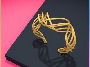 DNA  bracelet for her in Polished Gold Steel