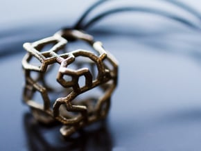 Stylized cube with an organic design in Polished Bronzed Silver Steel