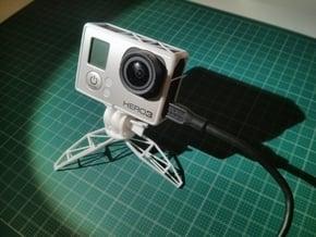 Open frame & mini tripod for GoPro in White Processed Versatile Plastic