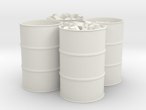 55 Gal Drum, Open Top with Trash, x4 in White Natural Versatile Plastic