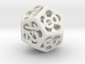 Hedron Dice Set in White Natural Versatile Plastic: d12
