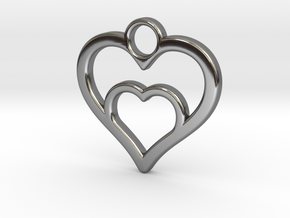 Heart in heart in Fine Detail Polished Silver: Small