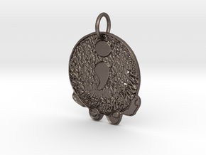 """""""Babe with the Power"""" Semicolon Pendant  in Polished Bronzed Silver Steel"""