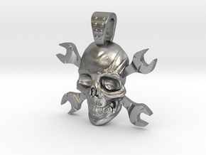 skull and keys in Natural Silver