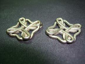 Friendship knot earrings in Polished Bronzed Silver Steel