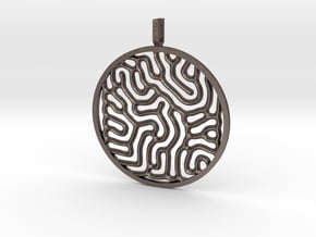 Gray Scott equations pendant in Polished Bronzed Silver Steel